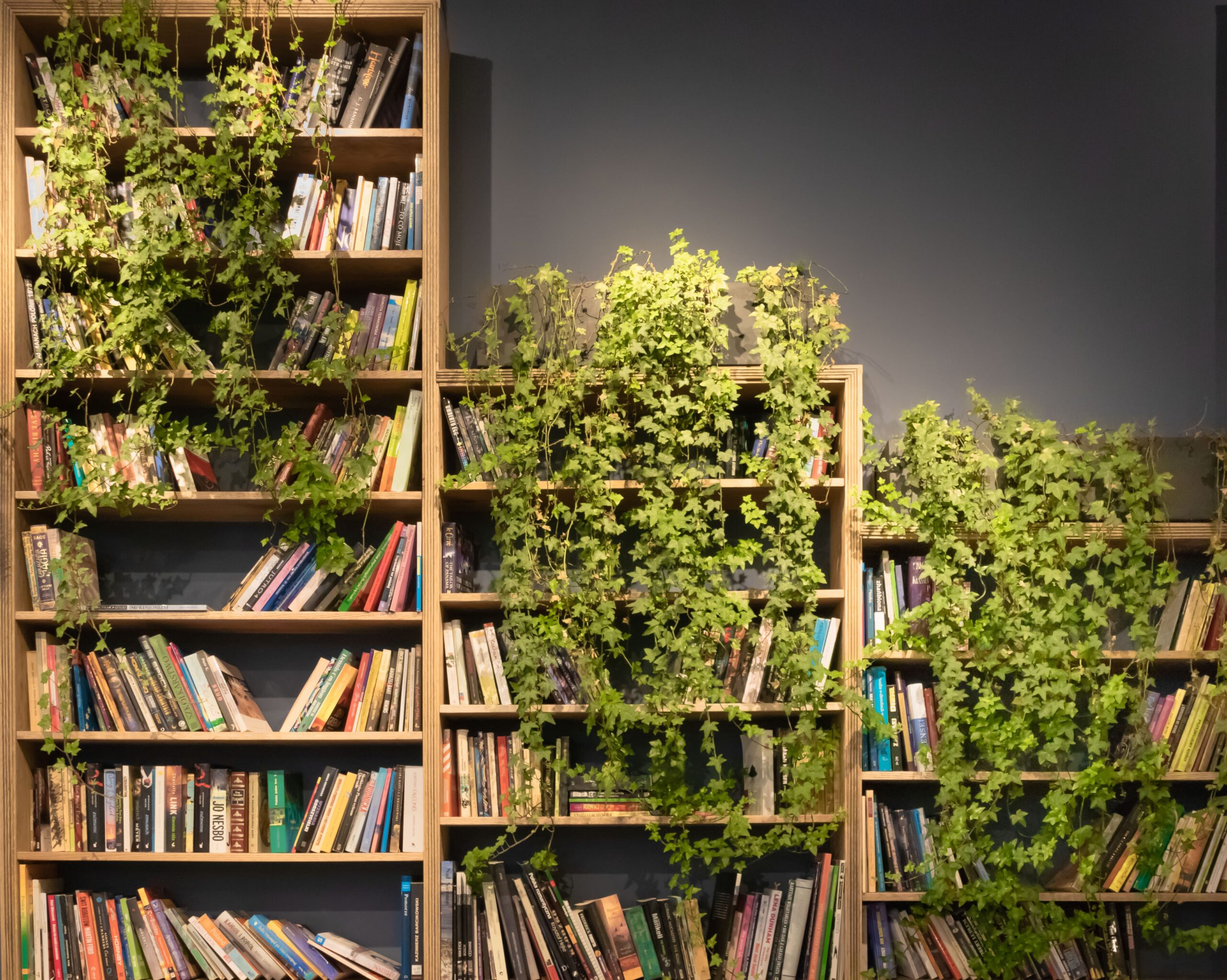 Kirjahylly, joka on osittain kasvien takana piilossa. En bokhylla som är delvis gömd bakom växter.