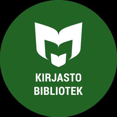 Vihreän kirjaston logo. Vihreä ympyrä, jonka keskellä on valkoisella yleisten kirjastojen logo, ja alla teksti kirjasto bibliotek. Logon för Vihreä kirjasto (Gröna biblioteket). En grön cirkel. Inuti finns de allmänna bibliotekens logo i vitt och texterna kirjasto bibliotek också i vitt.