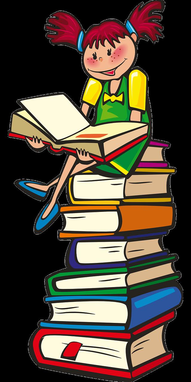 tyttö istuu kirjatornin päällä, lukemassa kirjaa