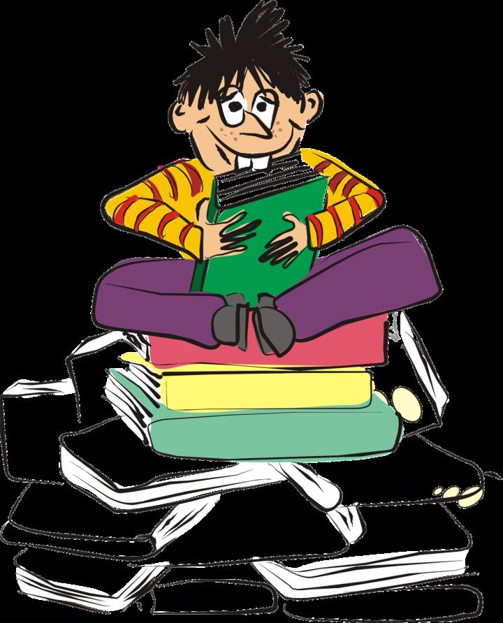 Poika istuu tyynyjen päällä ja lukee kirjaa