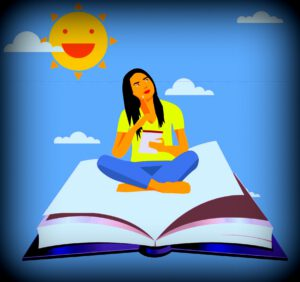 tyttö lentää kirjan päällä ja miettii kertomusta. Kaunis aurinkoinen päivä