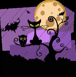 Halloween piirroskuva, Kuvassa kissa ja pööllö istuu puussa ja ja lepakko lentää vieressä