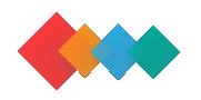 Liboppis logo, som består av 4 kvadrat: första, den största är röd, sen kommer orange/mörk gul, blå och grön.
