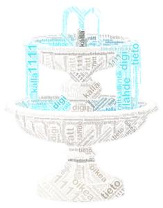 Bilden för Källan till rätt information-evenemanget: ett fontän gjord av ord som har en anknytning till information. Oikean tiedon äärellä-tapahtuman kuva, joka on tietoon liittyvistä sanoista koostuva suihkulähde.
