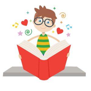 Piirroskuva pojasta joka lukee punaista kirjaa. Ympärillä on sydämiä, nuotteja, tähtiä ja muita kuvioita. Kuvan tunnelma on iloinen ja innostunut, ihmettelevä. Kuva on palvelumuotoilun pilottiprojektin niin sanottu logo.