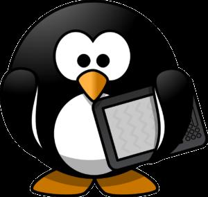 pingviinillä on tablettilaite kainalossa